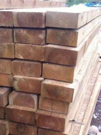 WOODEN RAILWAY SLEEPERS 2.4m x 200mm x 100mm pressure treated(Glasgow Scotland new Edinburgh timber