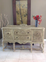 ANTIQUE DINING SIDEBOARD - Shabby Chic distressed and waxed