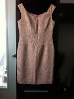 MAGGY LONDON DUSTY ROSE/SILVER FLORAL JACQUARD DRESS, SZ.10P NEW
