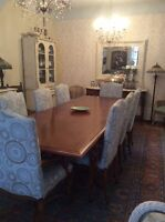 Dining Room table and 8 newly upholstered chairs High End