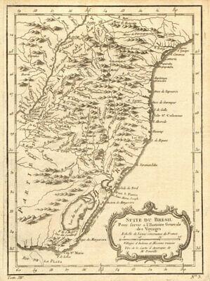 'Suite du Brésil'. Brazil south Uruguay Curitiba-Punta del Este. BELLIN 1757 map