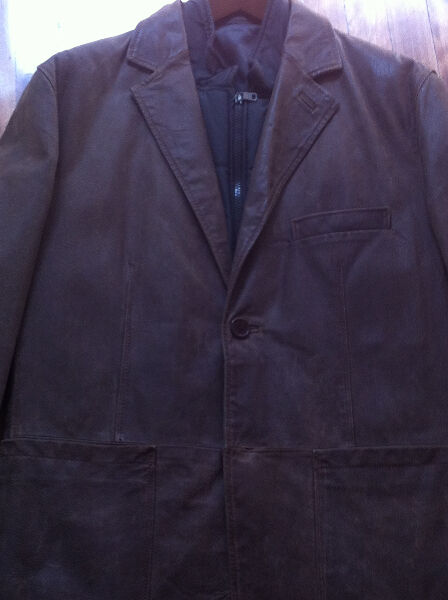 Mens Leather jacket with removable vest