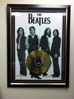 Beatles Framed Poster w/ The Hits Gold LP