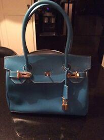 Leather Handbag: Chelsea Blue 100% Leather
