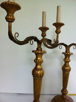 Pair French Late 19th Louis XVI Style Gilt 2 Chandeliers Lamps