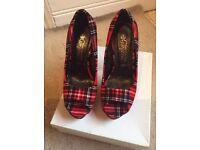 Tartan peep toe shoes