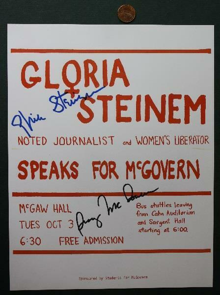 1972 Gloria Steinem AND Senator George McGovern for President signed brochure!