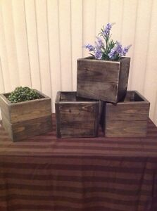 Rustic wooden plant boxes