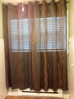 2 pair of  olive coloured drapes and rods