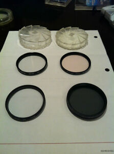 Lens Filters:  46mm Agfa, 49mm PL,  55mm  FL,  80a
