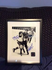 Brad Park & Pete Mahovlich signed and framed photo