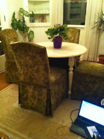 Shabby chic distressed dining table w/seating
