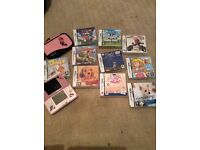 Nintendo DS pink with10 games and cover case