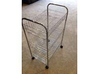Kitchen silver metal vegetable trolley with 3 racks on wheels