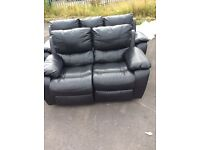Harveys Oberon RECLINING BLACK LEATHER. 3 +2 seater sofa Set Ex display model
