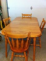 Maple dining table and chairs set