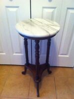 Antique Marble Top Plant Stand