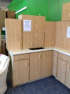 Kitchen cabinets with uppers and lowers