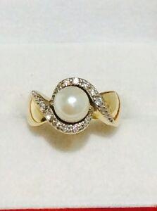 Bague en or 14K avec perle et diamants