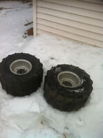 ATV 5 BOLT ITP REAR WHEELS WITH PADDLE TIRES FOR THE SAND