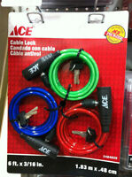 3 pack of cable locks different colours Ace Hardware brand