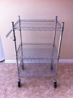 Solid Crome Bakers Rack with Wheels