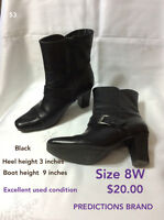 Prediction brand black boots size 8W