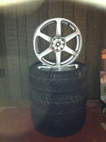 """17"""" rims, wheels, with 3 all season tires. only $250!!!!"""