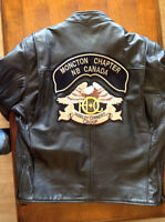 Mens size L leather jacket. Moncton Harley Owners Group Patch
