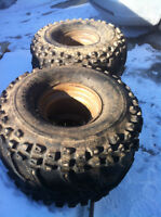 SUZUKI LT230 ITP REAR RIMS W DICK CEPEK SPIDER TRAC TIRES