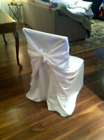 WHITE, UNIVERSAL CHAIR COVERS FOR RENT