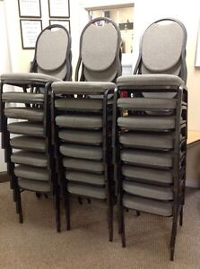PADDED METAL FRAME STACKABLE BANQUET CHAIRS - USED