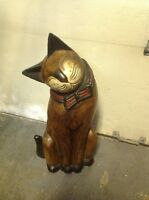 Oriental Hardwood cat sculpture and dog statue,make an offer