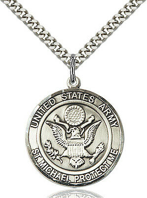 Men's 925 Sterling Silver Army St Michael Military Catholic Medal - Michael Army Medal
