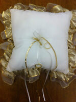 Wedding,Ring Bearer Pillow:white satin;gold organza trim(Arlene)