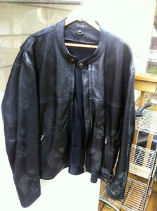 Black leather Riding jacket with etched skulls (4XL but small)