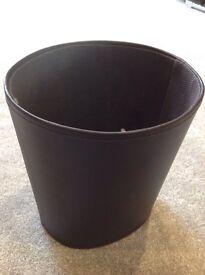 Brown leather effect bin