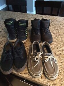 Men's shoes--4 pairs size 9.5-10 Sperry, Vans, Adidas,Timberland