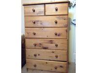 Pine wood set of drawers