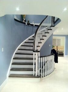 STAIR TREADS, POSTS, IRON SPINDLE & FLOORING