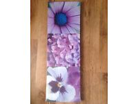 Set of three purple flower canvas prints brand new and sealed