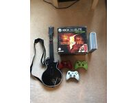 XBOX 360, 3 CONTROLLERS, HDDVD DRIVE, GUITAR CONTROLLER + 34 GAMES + 7 HD DVDS
