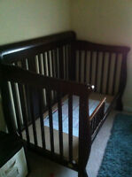 Nice Espresso Crib with Toddler Bed Conversion Rail