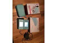 Nintendo DS lite turquoise- car charger and earphones(unused), case, spare stylus and 12 games