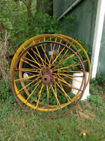 "Assorted Sizes of Metal Wagon Wheels 20"" 24"" 44"""