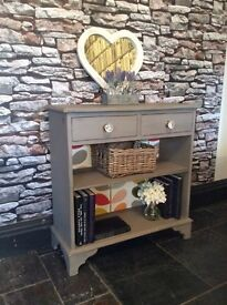 This item now SOLD. Console table, Orla Kiely inspired, hand painted shabby chic