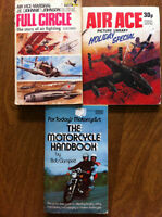 3 old books about airplanes and motorcyles