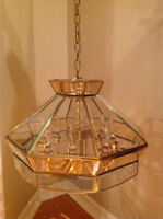 chandelier...brass and glass