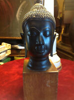 ANTIQUE BRONZE BUDDHA HEAD LABLED WITH WOODEN BLOCK STAND