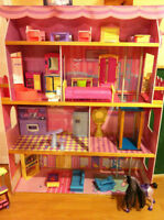 *new price* Large BARBIE DOLL HOUSE w/ ALL FURNITURE incl.